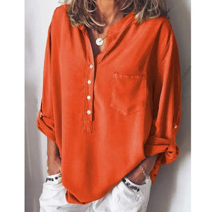 Pure Long-Sleeved Fashion Loose V-Collar Shirt