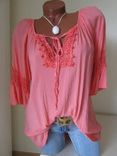 Load image into Gallery viewer, V Neck  Lace Up  Blouses