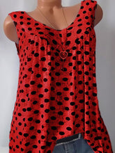 Load image into Gallery viewer, V Neck  Loose Fitting  Dot Sleeveless T-Shirts