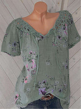 Load image into Gallery viewer, Round Neck Patchwork  Lace Printed Blouses