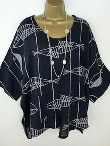 Round Neck  Loose Fitting  Print T-Shirts