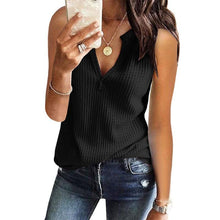 Load image into Gallery viewer, V Neck Sleeveless Plain Casual T-Shirts