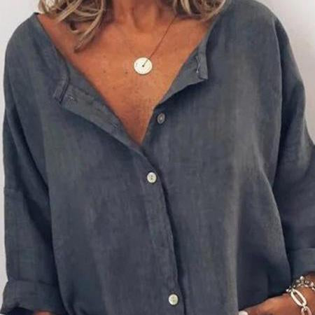 Round Neck Loose Fitting Single Breasted  Plain Blouses