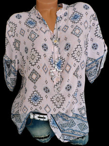 Loose Geometric Printed Fitting Blouses