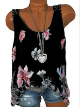 Load image into Gallery viewer, Round Neck  Backless Patchwork  Floral Printed Lace Blouses