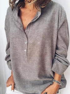 Band Collar  Loose Fitting Plain Blouses