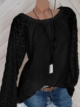 Load image into Gallery viewer, Decorative Lace Plain Long Sleeve Blouses