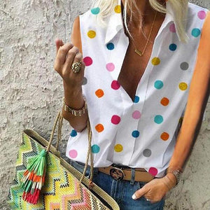 Sleeveless Colorful Polka Dots Blouses