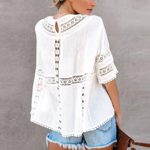 Women's Pure Color Lace Short Sleeve Shirt