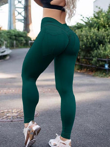 Casual High-Waist Pure Color Sports Pants