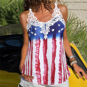Women's Sexy Lace Flag Printed Camis