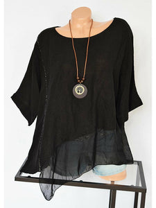 Casual Round Neck Pure Color Asymmetrical Hem Shirt