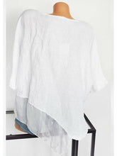 Load image into Gallery viewer, Casual Round Neck Pure Color Asymmetrical Hem Shirt