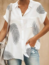 Load image into Gallery viewer, Leaves Printed Pocket Short Sleeve Blouses