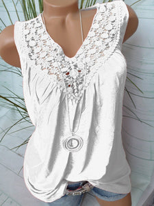 V Neck  Patchwork  Lace Plain Sleeveless T-Shirts