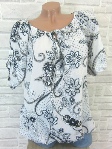 Casual Round Neck Flower Printed Shirt