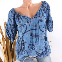 Load image into Gallery viewer, Women's V-Neck Flower Printed Short Sleeve Shirt