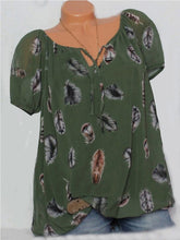 Load image into Gallery viewer, Loose Print V-Neck Short Sleeve Blouse