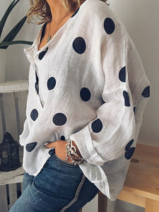 Cotton/Linen Round Neck Polka Dot Long Sleeve Blouse