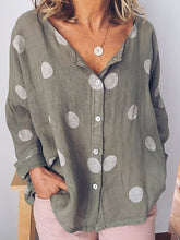 Load image into Gallery viewer, Cotton/Linen Round Neck Polka Dot Long Sleeve Blouse