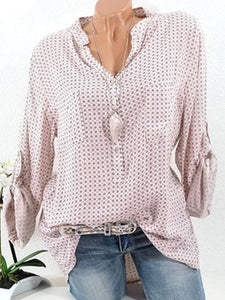 V Neck Loose Small Dots Blouses
