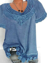 Load image into Gallery viewer, Lace-Paneled Short Sleeve Plain T-Shirt