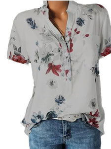 Short Sleeve Flower Print Loose Blouse