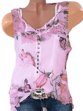 Load image into Gallery viewer, Sleeveless Chiffon Floral Printed Blouse