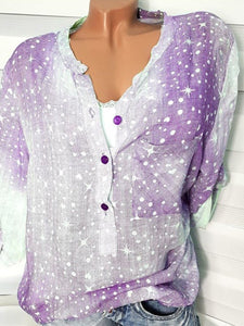 Decorative Button Polka Dot Star Long Sleeve Blouses
