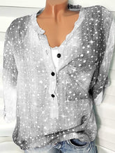 Load image into Gallery viewer, Decorative Button Polka Dot Star Long Sleeve Blouses