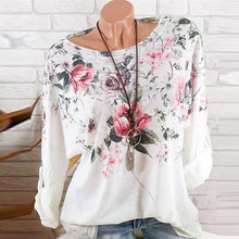 Load image into Gallery viewer, Round Neck  Loose Fitting  Floral Long Sleeve T-Shirts