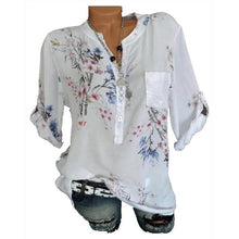 Load image into Gallery viewer, Fashion V Neck Floral Print Blouses