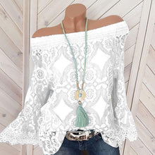 Load image into Gallery viewer, Off The Shoulder Patchwork Lace Blouses