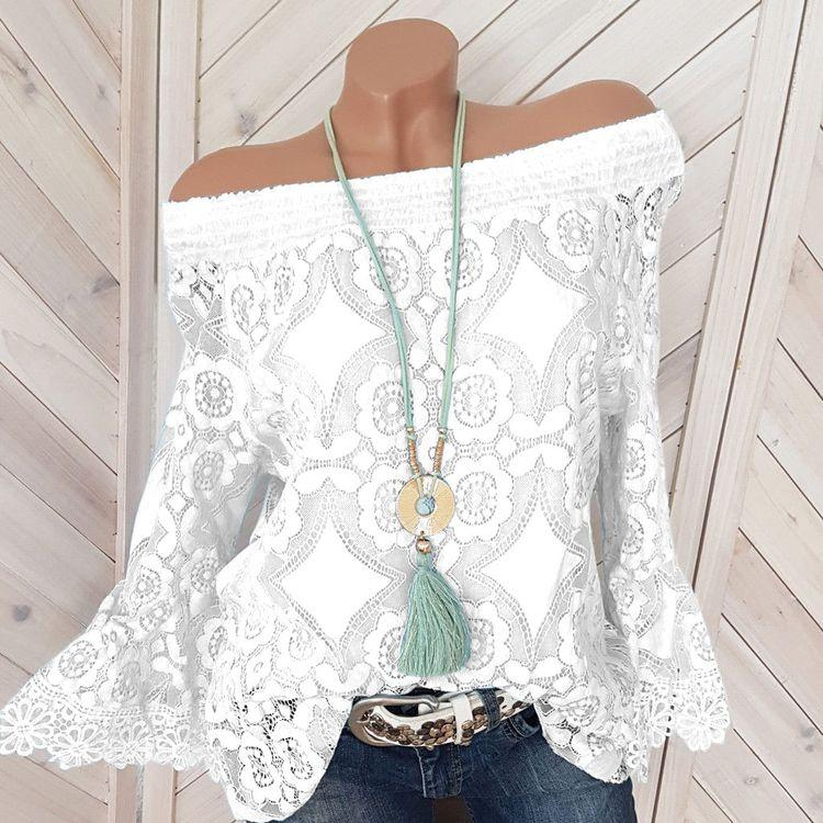 Off The Shoulder Patchwork Lace Blouses