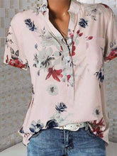 Load image into Gallery viewer, Short Sleeve Flower Print Loose Blouse
