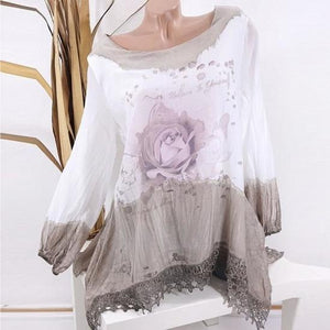 Round Neck Long Sleeve Printed Casual Loose Shirt