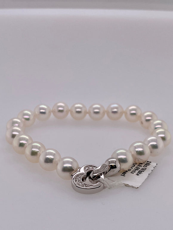 8.5mm Cultured Pearl Bracelet with Diamond Filled Heart Clasp