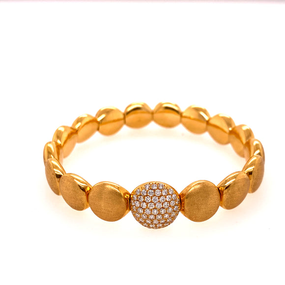 Matte Yellow Gold Circular Stretchable Bangle with Diamond Link