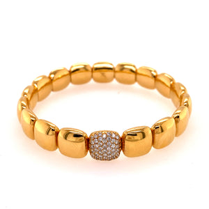 Polished Yellow Gold Stretchable Square Bracelet with Diamond Link