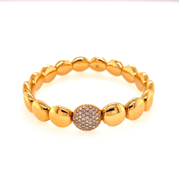 Polished Yellow Gold Circular Stretchable Bangle with Diamond Link