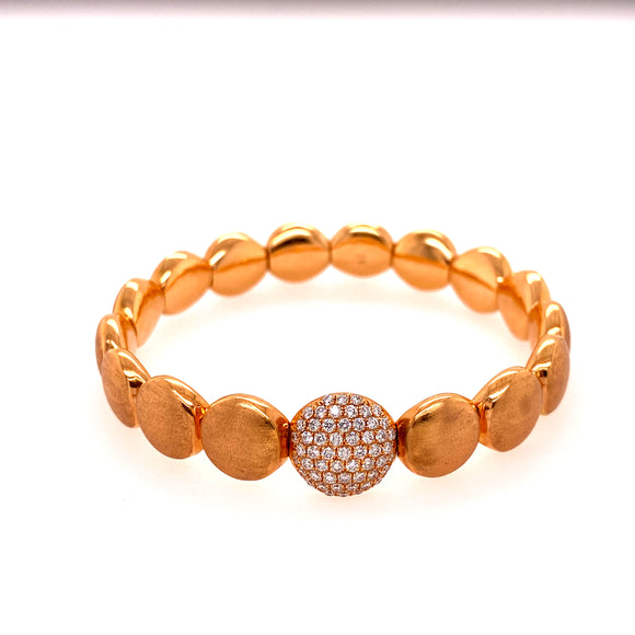 Matte Rose Gold Circular Stretchable Bangle with Diamond Link