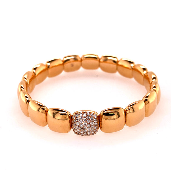 Polished Rose Gold Stretchable Square Bracelet with Diamond Link