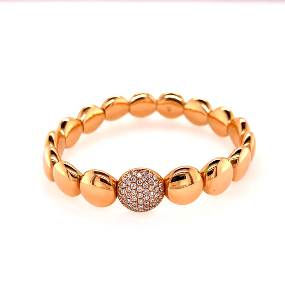 Polished Rose Gold Circular Stretchable Bangle with Diamond Link