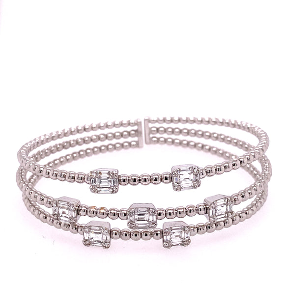 White Gold Beaded Diamond Cuff