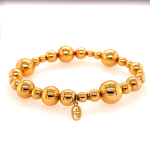 Yellow Gold Stretchable Beaded Bracelet