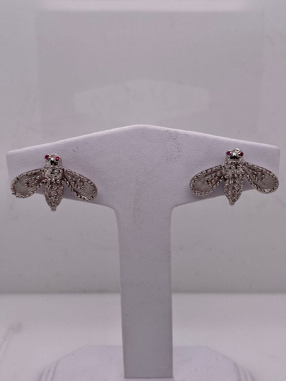 White Gold Bumble Bee Earrings with Diamonds and Ruby Eyes