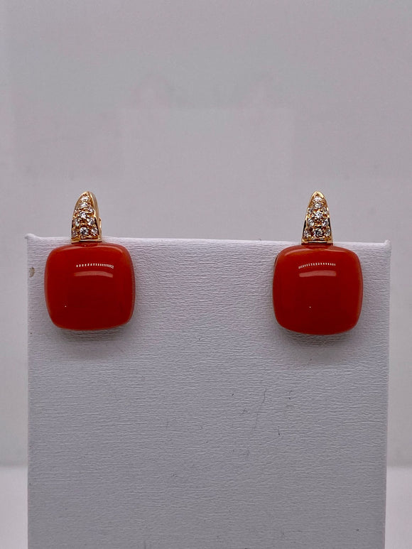 Coral Cabochon Earrings