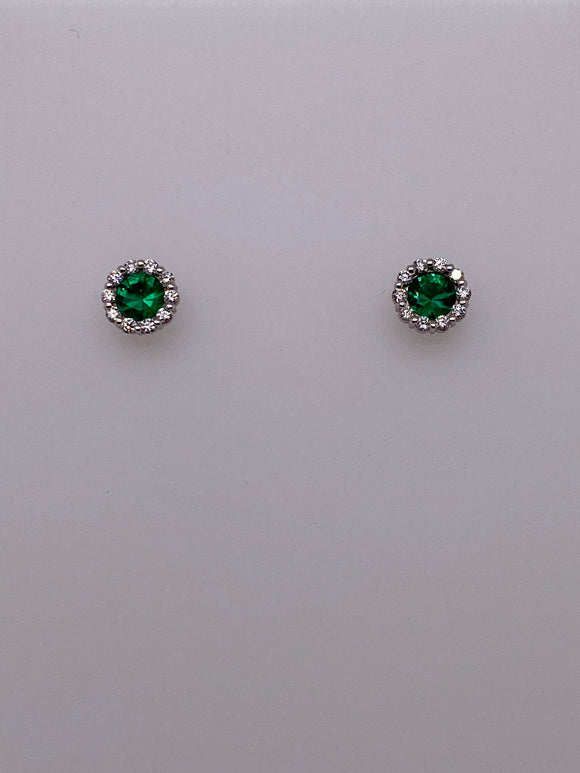 Emerald Studs with Diamonds