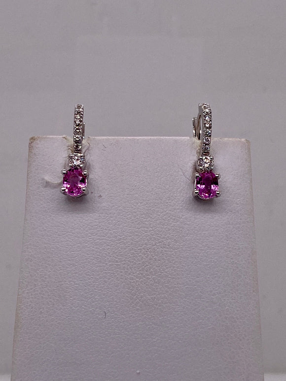 Pink Sapphire Earrings with Diamonds by Crivelli