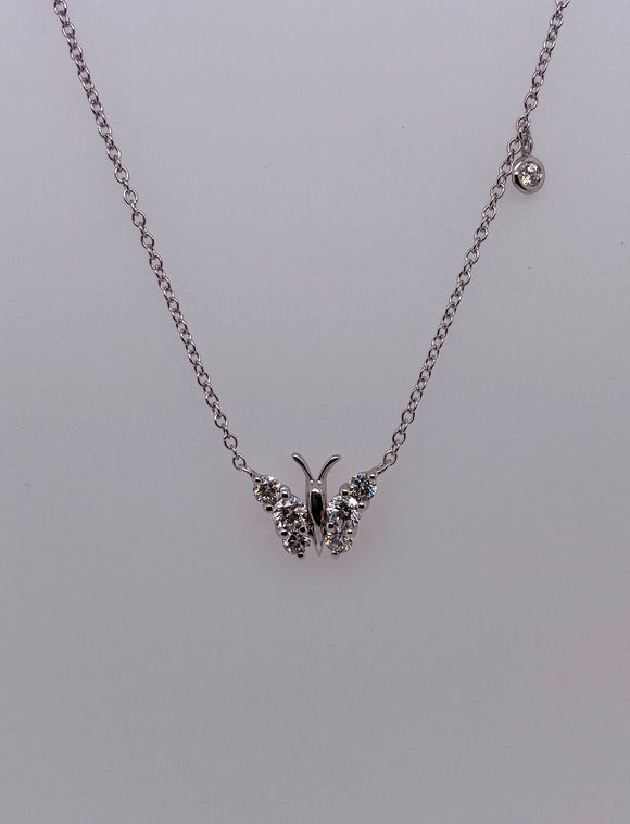 Butterfly Pendant with Hanging Round Diamond